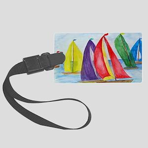 Colorful Regatta Sails Large Luggage Tag