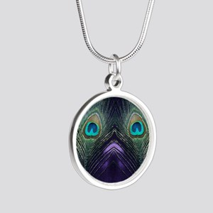 Royal Purple Peacock Silver Round Necklace