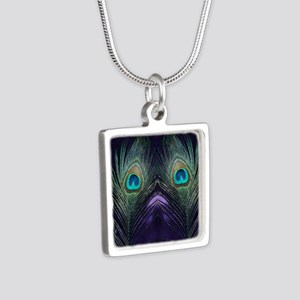 Royal Purple Peacock Silver Square Necklace