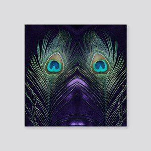 "Royal Purple Peacock Square Sticker 3"" x 3"""