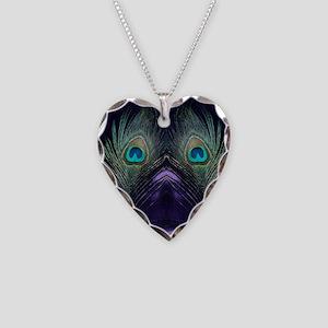 Royal Purple Peacock Necklace Heart Charm