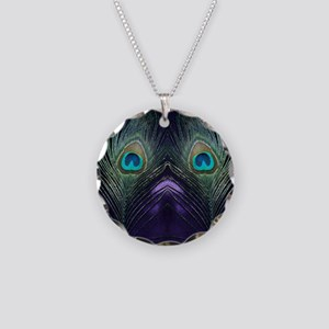 Royal Purple Peacock Necklace Circle Charm