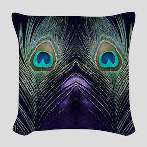 Royal Purple Peacock Woven Throw Pillow