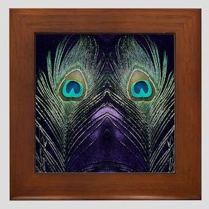 Royal Purple Peacock Framed Tile