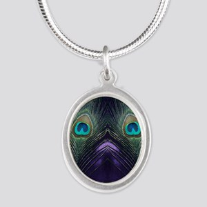 Royal Purple Peacock Silver Oval Necklace