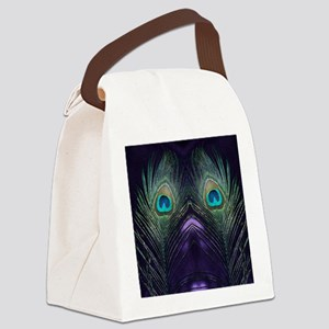 Royal Purple Peacock Canvas Lunch Bag
