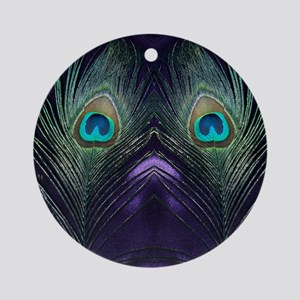 Royal Purple Peacock Round Ornament