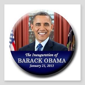 "Obama Inaugural button Square Car Magnet 3"" x 3"""