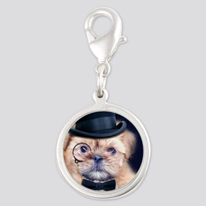 Dolce Dog Silver Round Charm