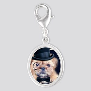 Dolce Dog Silver Oval Charm