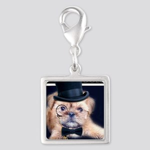 Dolce Dog Silver Square Charm