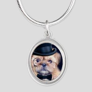 Dolce Dog Silver Oval Necklace