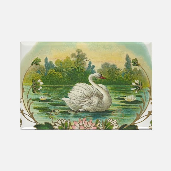 Swimming Swan Rectangle Magnet