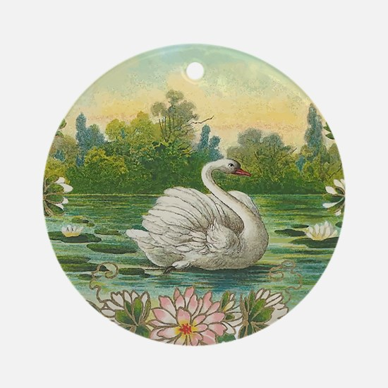 Swimming Swan Round Ornament
