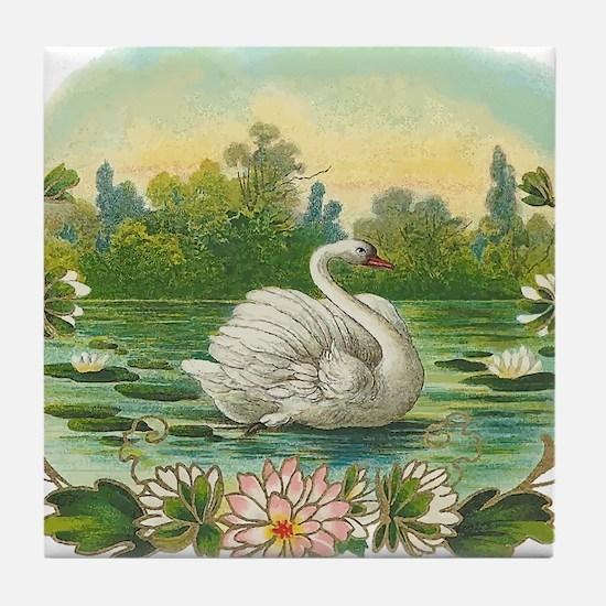 Swimming Swan Tile Coaster