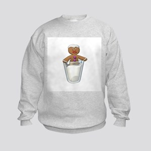 Gingerbread Man Dipped in Milk Kids Sweatshirt