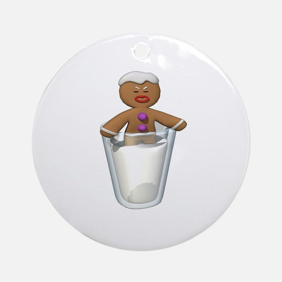 Gingerbread Man Dipped in Milk Ornament (Round)