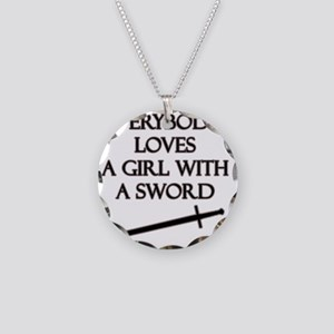 Girl With a Sword Necklace Circle Charm