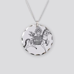 Wind Horse Necklace Circle Charm