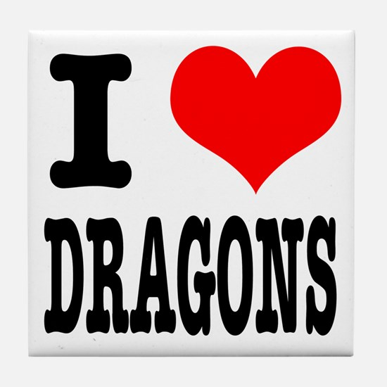 I Heart (Love) Dragons Tile Coaster