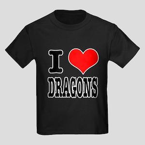 I Heart (Love) Dragons Kids Dark T-Shirt