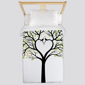 Love tree with heart branches, birds an Twin Duvet