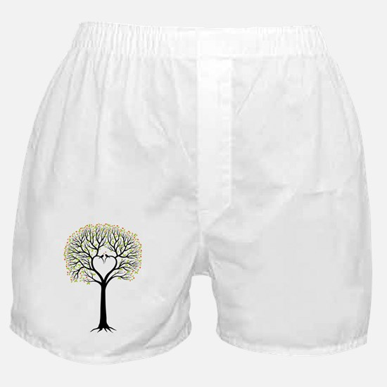 Love tree with heart branches, birds  Boxer Shorts