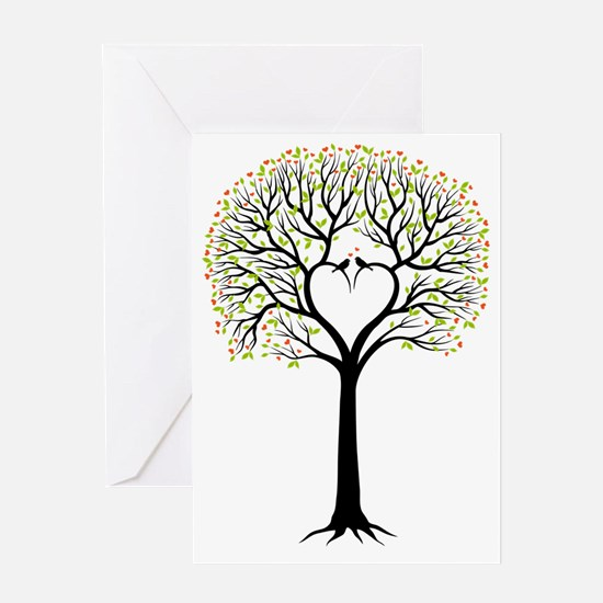 Love tree with heart branches, birds Greeting Card