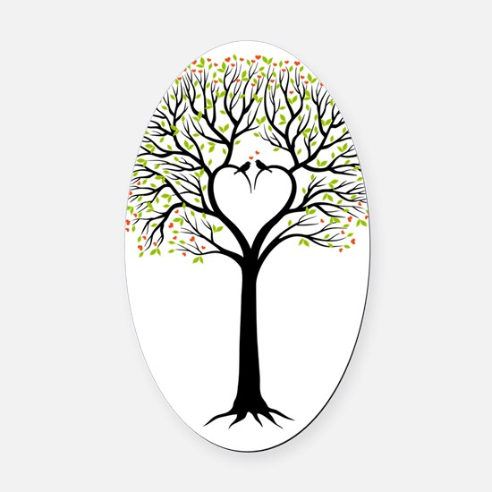 Love tree with heart branches, bir Oval Car Magnet