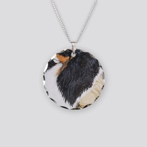 Tri Color Sheltie Shetland S Necklace Circle Charm