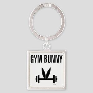 Gym Bunny Square Keychain