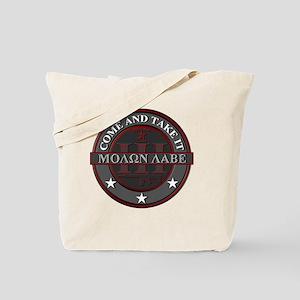 Molon Labe (Red/Grey) Tote Bag