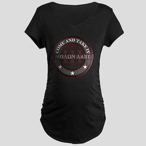 Molon Labe (Red/Grey) Maternity Dark T-Shirt