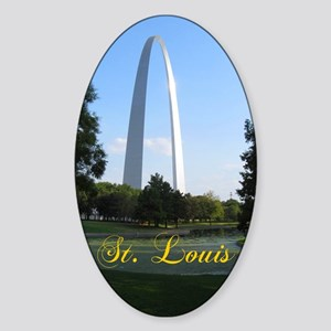 StLouis_7x10_Tall_GatewayArch_color Sticker (Oval)