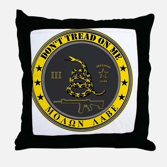 Dont Tread On Me (Yellow/Grey) Throw Pillow