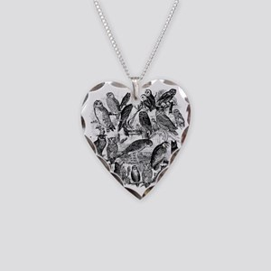 Vintage Owls Necklace Heart Charm