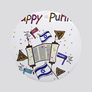 Happy Purim Round Ornament