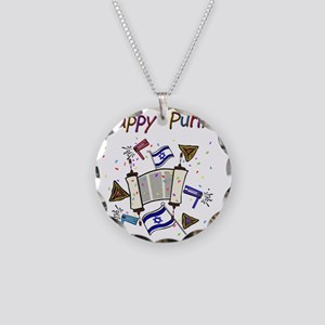 Happy Purim Necklace Circle Charm