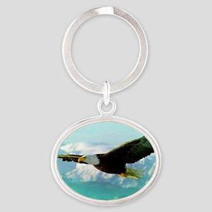 soaring eagle Oval Keychain