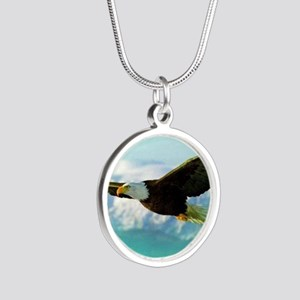 soaring eagle Silver Round Necklace