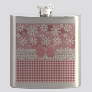 Pretty Pink Gingham Daisies Flask