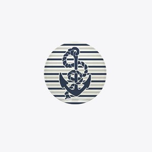 Navy Blue Grey Anchor Stripes Pattern Mini Button