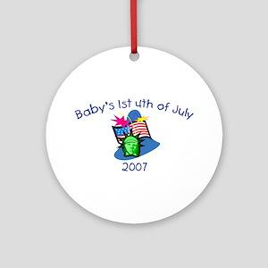 Baby's 1st 4th Of July (Statu Ornament (Round)