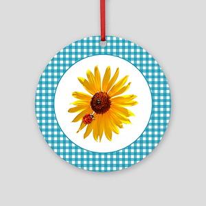 Summer Sunflower Gingham Round Ornament
