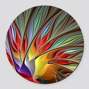 Fractal Bird of Paradise Round Car Magnet