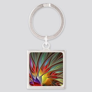 Fractal Bird of Paradise Square Keychain