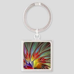 Fractal Bird of Paradise Square Keychain