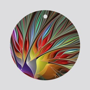Fractal Bird of Paradise Round Ornament