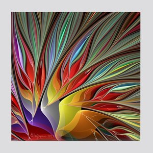 Fractal Bird of Paradise Tile Coaster