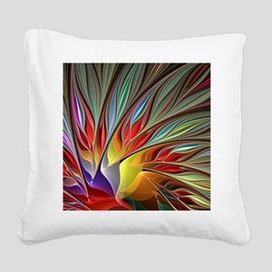 Fractal Bird of Paradise Square Canvas Pillow